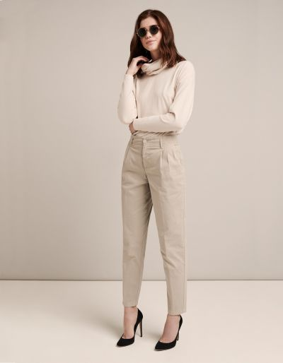 High Waist Pleated Trousers With Comfort Waistband