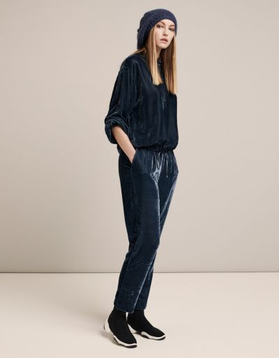 Velvet Trousers With Elastic Waist And Adjustable Drawstrings