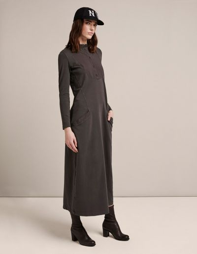 Fleece Long Dress With Jersey Sleeves And Poplin Inserts