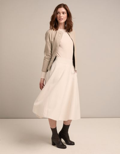 Flared Long Skirt With Sartorial Details And Jersey Waist-Band