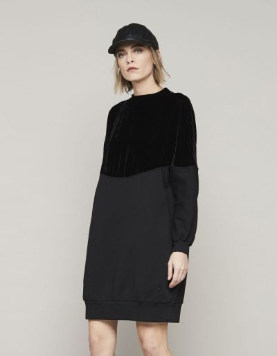 Long sweatshirt with velvet detail