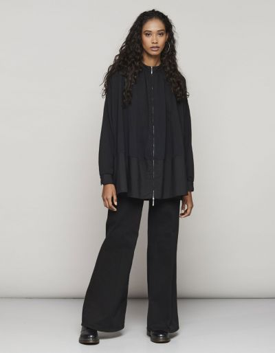 Palazzo coloured denim pants with comfort waist