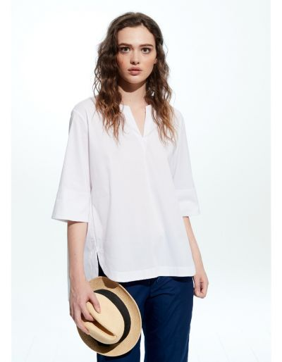 Poplin Shirt With Gathered Back