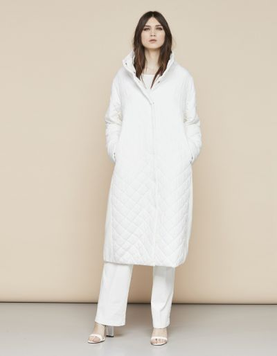 Quilted extra long coat with jersey insert