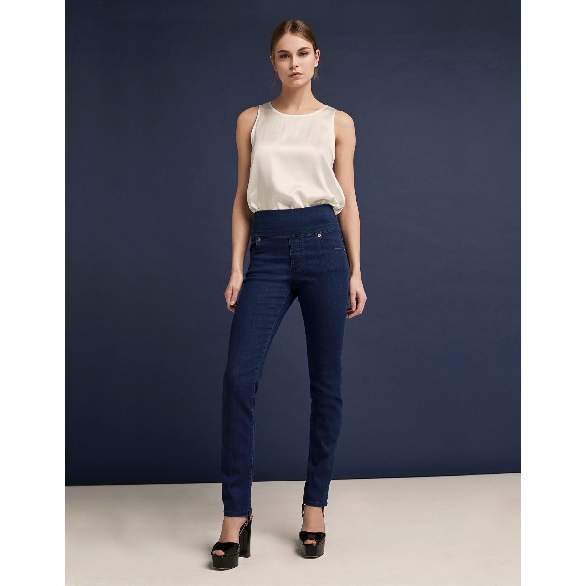 Five-Pocket Skinny Jeans With Jersey Waist-Band